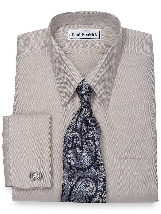 Slim Fit Non-Iron 2-Ply 100% Cotton Herringbone Straight Collar Dress Shirt