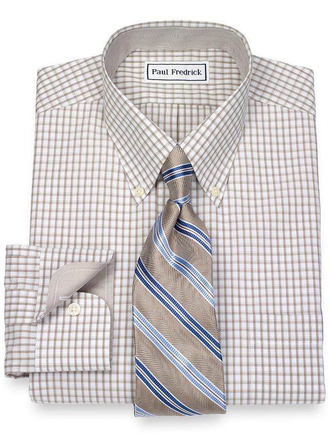 Slim Fit Non-Iron 2-Ply 100% Cotton Tattersall Button Down Collar Dress Shirt