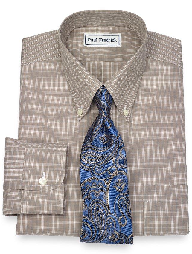 Slim Fit Non-Iron 2-Ply 100% Cotton Check Button Down Collar Dress Shirt