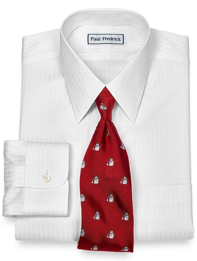 Slim Fit Non-Iron 2-Ply 100% Cotton Satin Stripe Straight Collar Dress Shirt