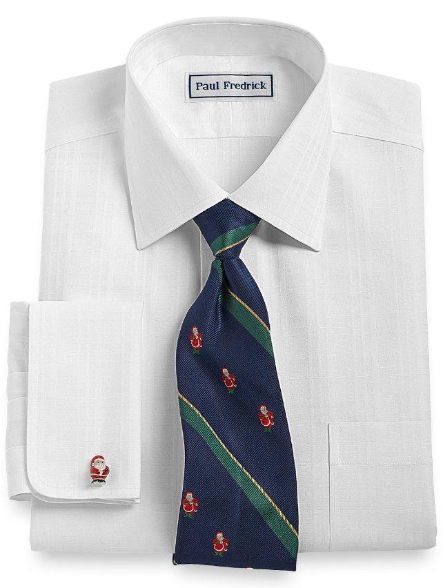 Slim Fit Non-Iron 2-Ply 100% Cotton Tattersall Spread Collar Dress Shirt