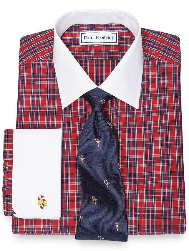 Slim Fit Non-Iron 2-Ply 100% Cotton Tartan Spread Collar French Cuff Dress Shirt