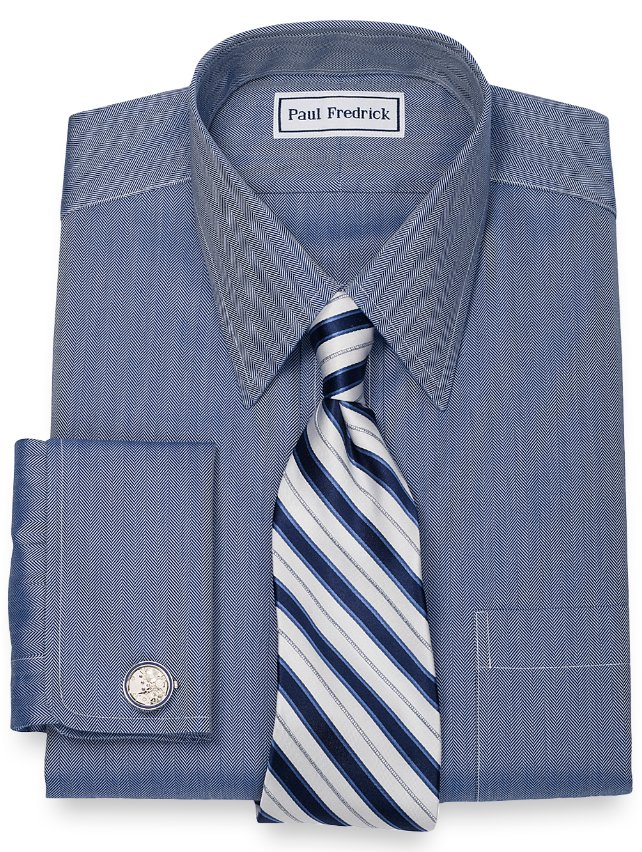 Non-Iron 2-Ply 100% Cotton Herringbone Straight Collar French Cuff Dress Shirt