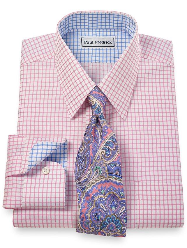 Non-Iron 2-Ply 100% Cotton Check Straight Collar Dress Shirt