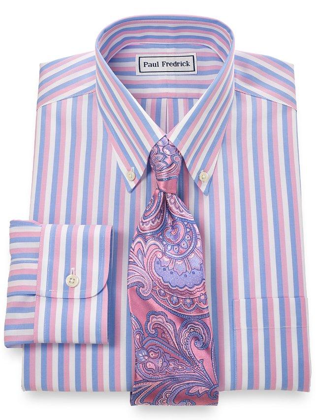 Slim Fit Non-Iron 2-Ply Cotton Bold Stripe Button Down Collar Dress Shirt
