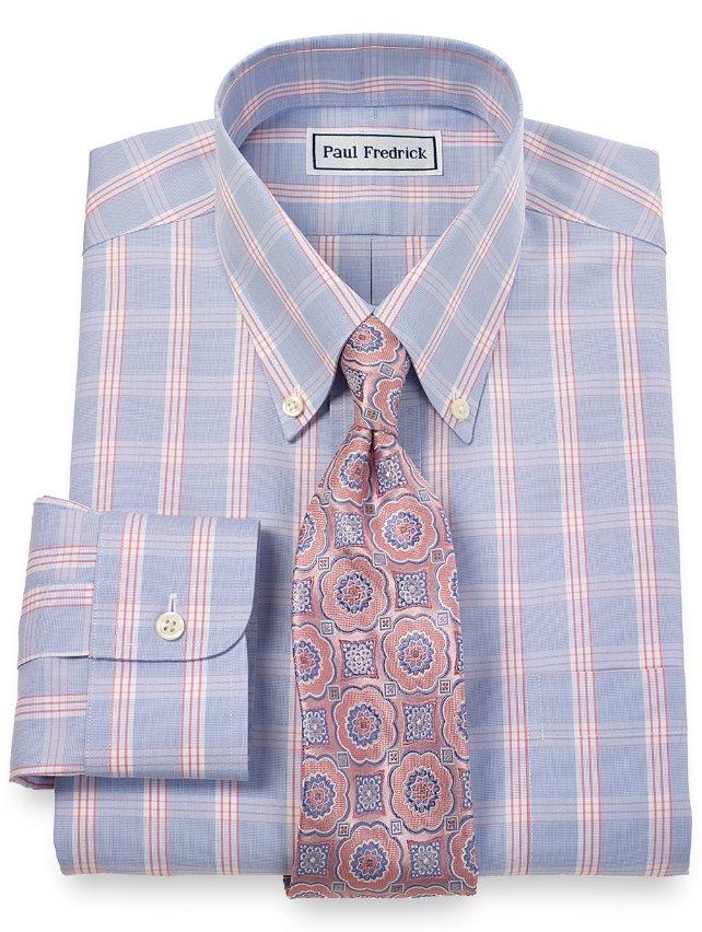 Slim Fit Non-Iron 2-Ply 100% Cotton Glen Plaid Button Down Collar Dress Shirt