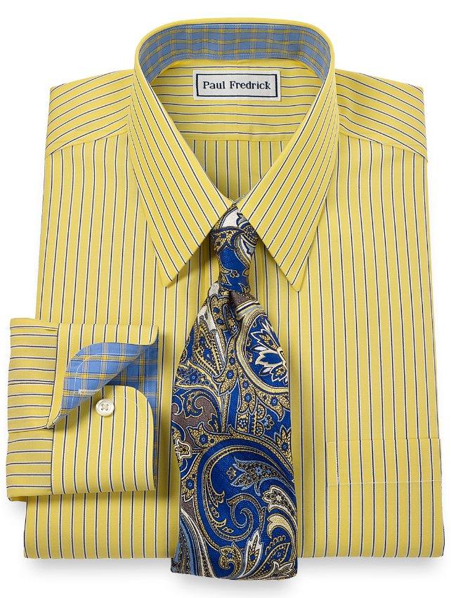 Non-Iron 2-Ply 100% Cotton Fine Line Stripes Straight Collar Dress Shirt