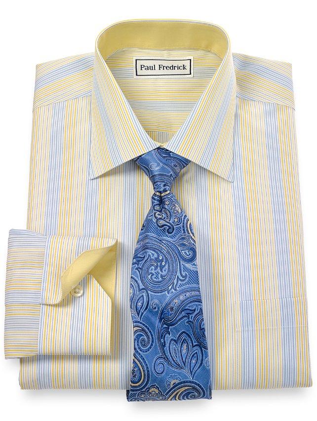 Non-Iron 2-Ply 100% Cotton Alternating Stripes Spread Collar Dress Shirt