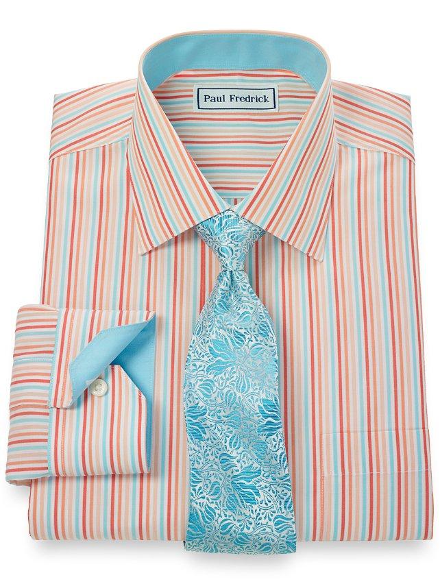 Slim Fit Non-Iron 2-Ply 100% Cotton Shadow Stripe Spread Collar Dress Shirt