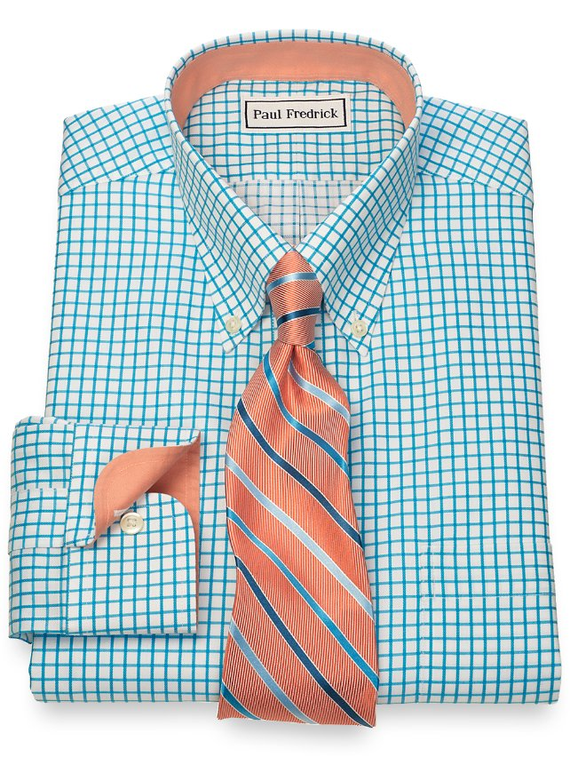 Extra Slim Fit Non-Iron 2-Ply Cotton Check Button Down Collar Dress Shirt