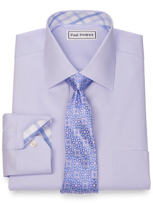 Non-Iron 2-Ply 100% Cotton Pinpoint Solid Spread Collar Dress Shirt