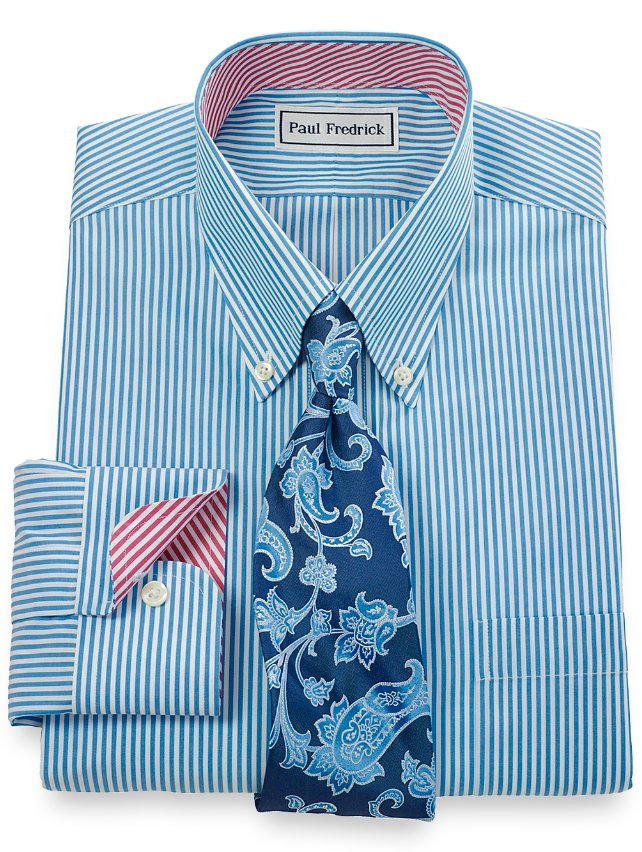 Non-Iron 2-Ply 100% Cotton Bengal Stripe Button Down Collar Dress Shirt