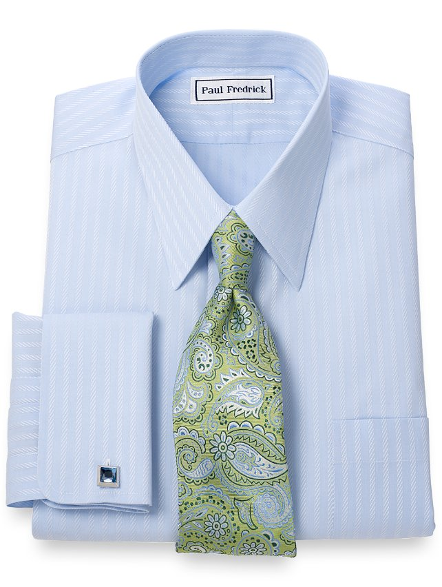 Non-Iron 2-Ply 100% Cotton Stripe Straight Collar French Cuff Dress Shirt