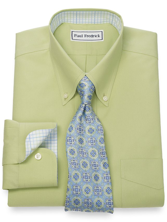 Slim Fit Non-Iron 2-Ply Cotton Pinpoint Solid Button Down Collar Dress Shirt