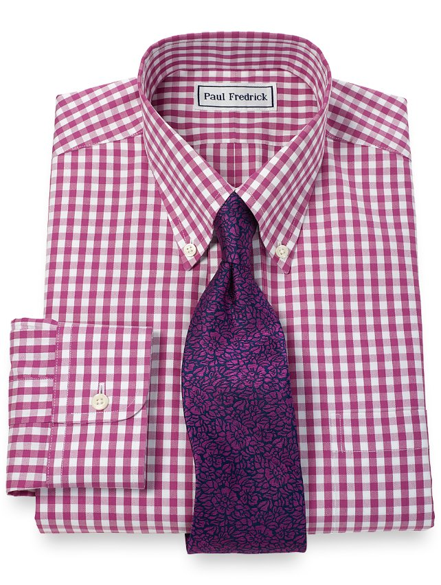 Slim Fit Non-Iron 2-Ply Cotton Pinpoint Gingham Button Down Collar Dress Shirt