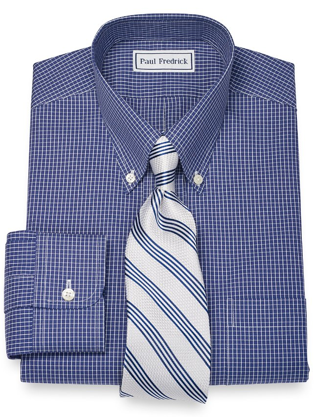 Non-Iron 2-Ply 100% Cotton Mini Check Button Down Collar Dress Shirt