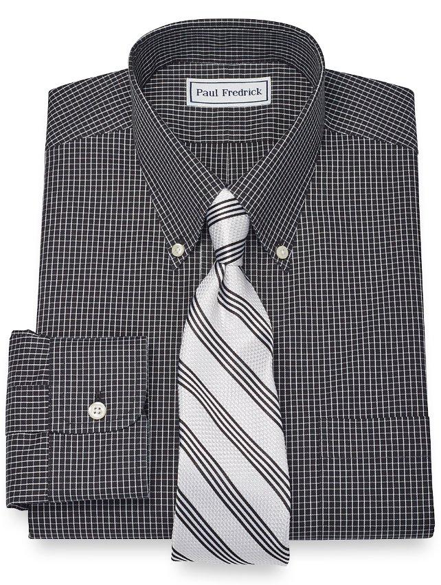 Slim Fit Non-Iron 2-Ply 100% Cotton Mini Check Button Down Collar Dress Shirt
