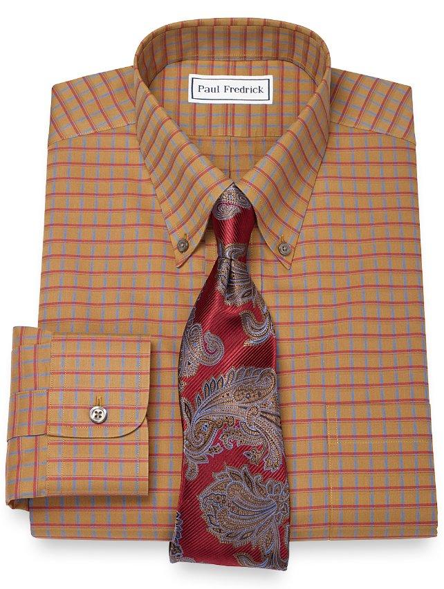 Slim Fit Non-Iron 2-Ply 100% Cotton Windowpane Button Down Collar Dress Shirt