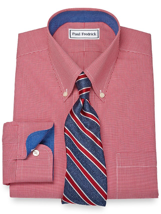 Non-Iron 2-Ply 100% Cotton Gingham Button Down Collar Dress Shirt
