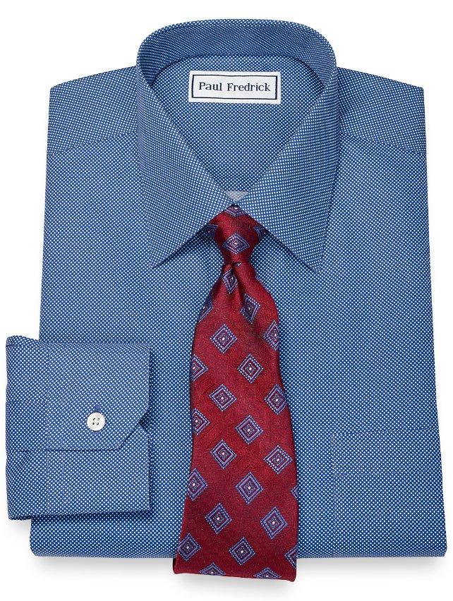 Non-Iron 2-Ply 100% Cotton Dot Pattern Spread Collar Dress Shirt