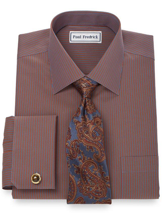 Non-Iron 2-Ply 100% Cotton Stripe Spread Collar French Cuff Dress Shirt