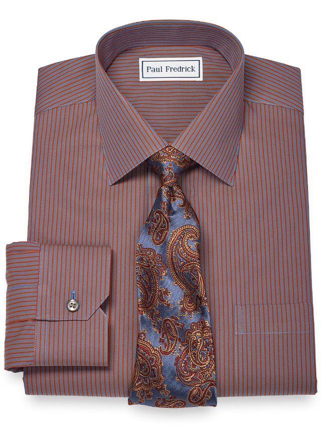 Slim Fit Non-Iron 2-Ply 100% Cotton Stripe Spread Collar Dress Shirt