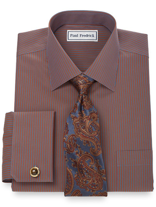 Slim Fit Non-Iron 2-Ply 100% Cotton Stripe Spread Collar French Cuff Dress Shirt