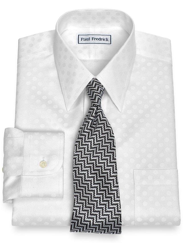 Slim Fit Non-Iron Cotton Dots Dress Shirt