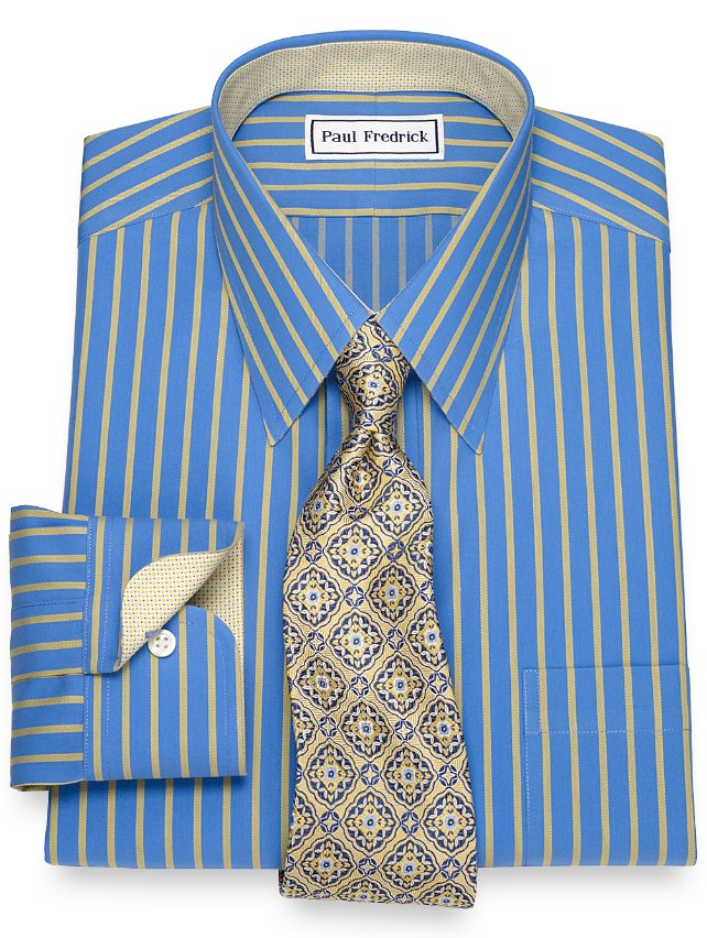 Non-Iron Cotton Satin Stripe Dress Shirt