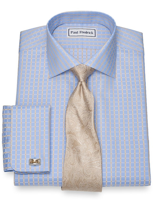 Slim Fit Non-Iron Cotton Satin Check Dress Shirt