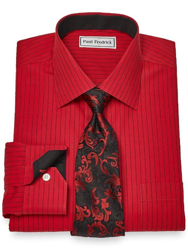 Slim Fit Non-Iron Cotton Fine Stripe Dress Shirt