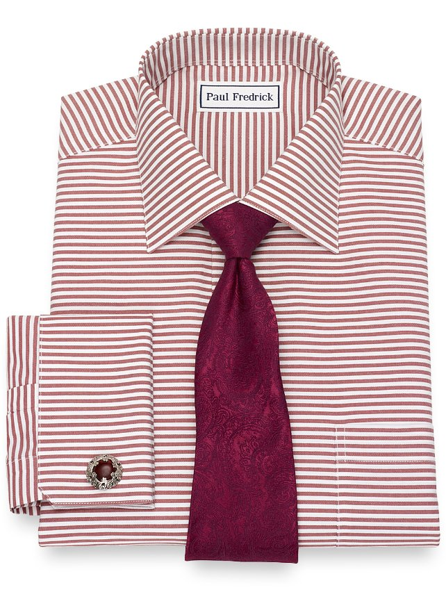 Non-Iron Cotton Horizontal Stripe Dress Shirt