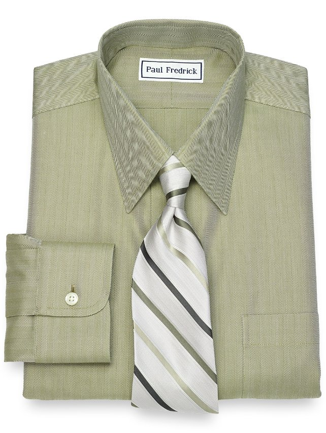 Slim Fit Non-Iron Cotton Herringbone Dress Shirt