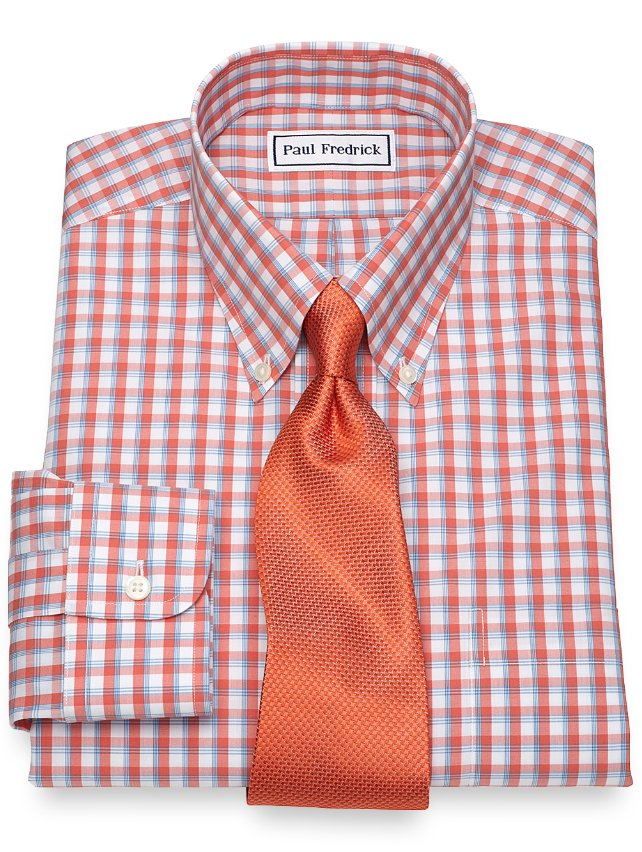 Non-Iron Cotton Windowpane Dress Shirt