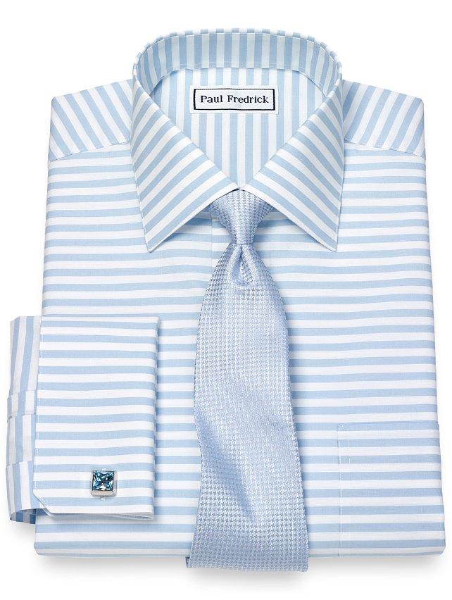 Slim Fit Non-Iron Cotton Hozizontal Stripe Dress Shirt