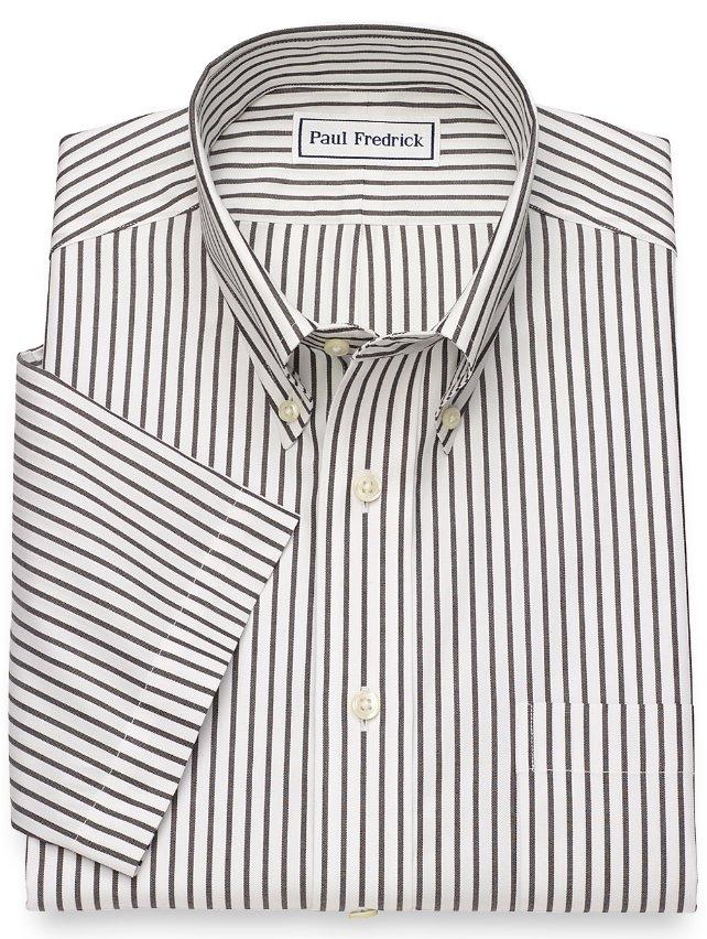 Slim Fit Non-Iron Cotton Stripe Short Sleeve Dress Shirt