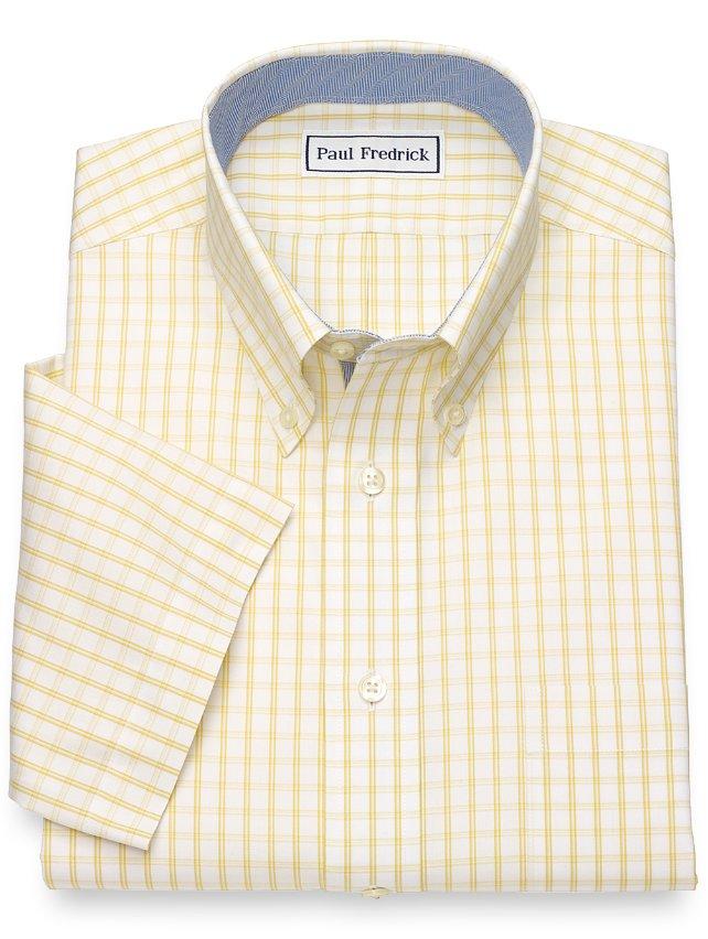 Non-Iron Cotton Windowpane Short Sleeve Dress Shirt