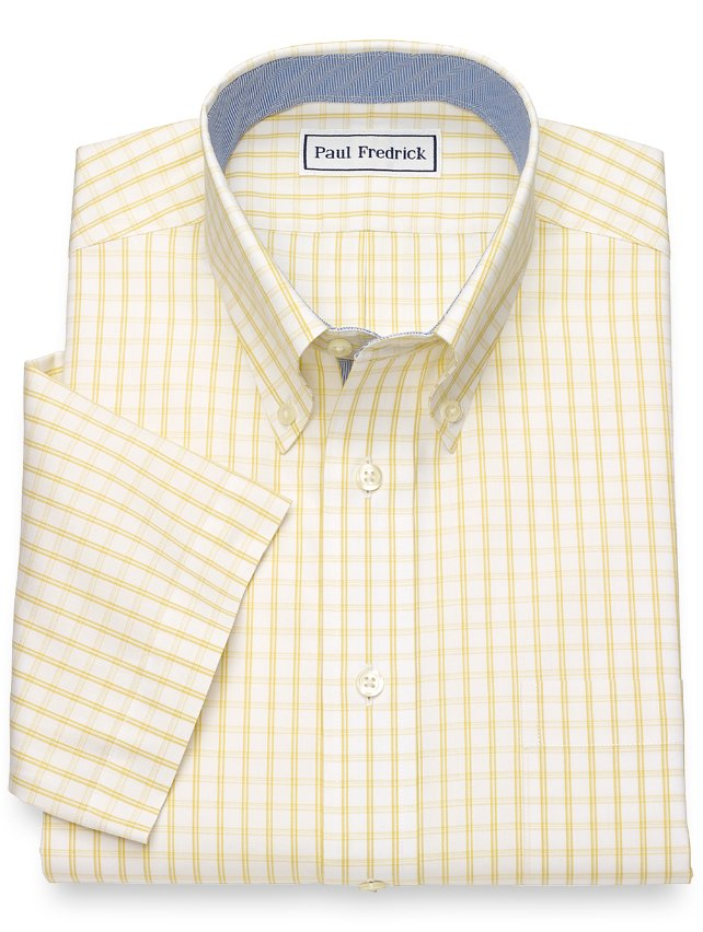 Slim Fit Non-Iron Cotton Windowpane Short Sleeve Dress Shirt