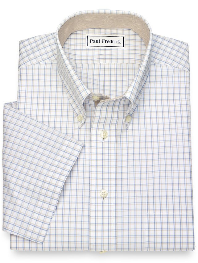 Non-Iron Cotton Tattersall Short Sleeve Dress Shirt