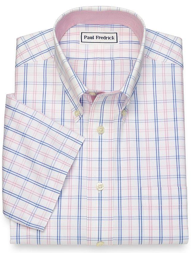 Slim Fit Non-Iron Cotton Tattersall Short Sleeve Dress Shirt