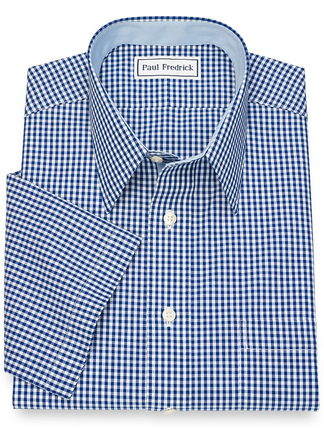 Slim Fit Non-Iron Cotton Gingham Short Sleeve Dress Shirt