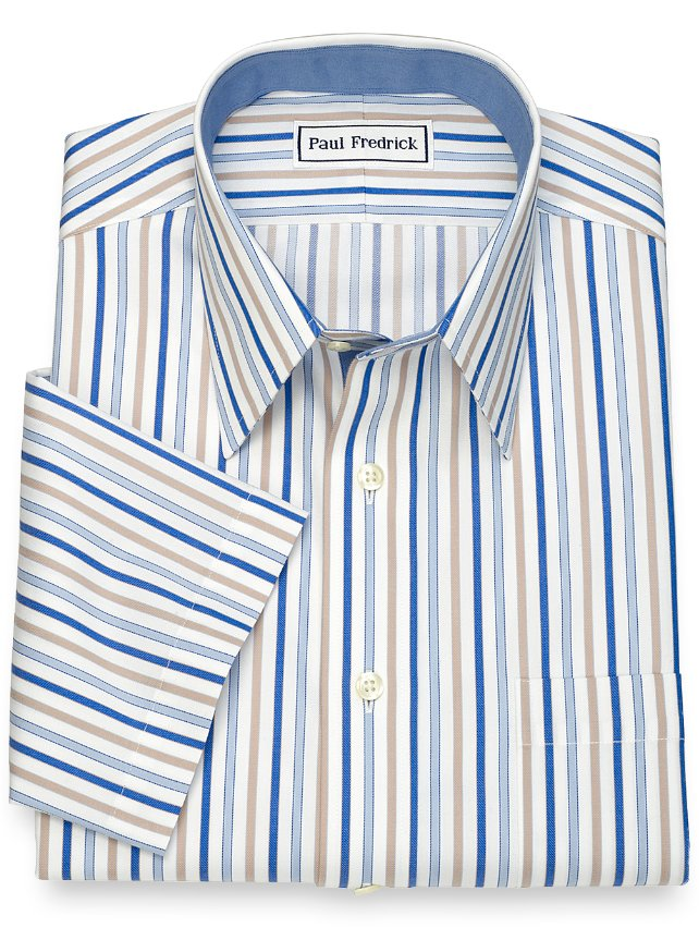 slim Fit Non-Iron Cotton Shadow Stripe Short Sleeve Dress Shirt