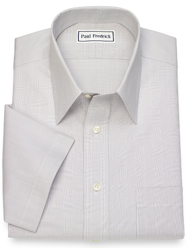 Slim Fit Non Iron Cotton Glen Plaid Short Sleeve Dress Shirt