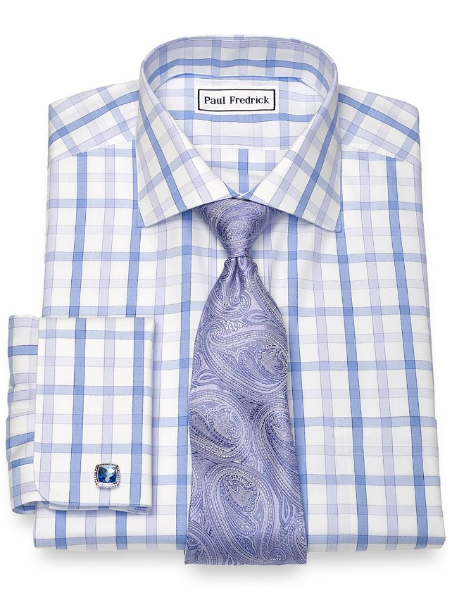 Slim Fit Non-Iron Cotton Large Grid Dress Shirt