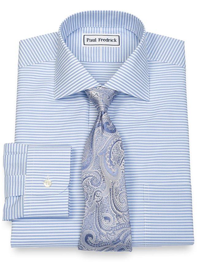 Non Iron Cotton Broadcloth Horizontal Stripe, Cutaway Collar, Button Cuff