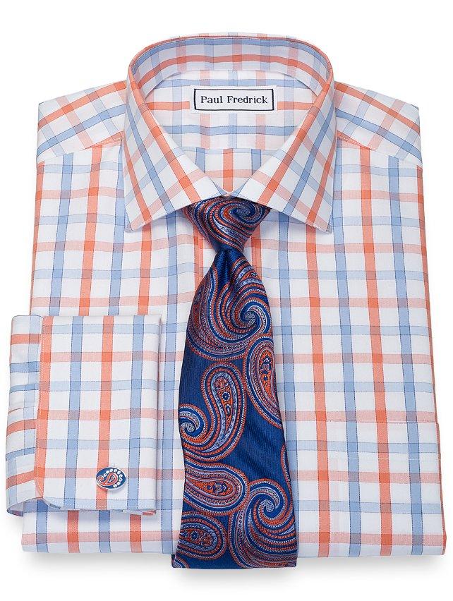Non-Iron Cotton Large Grid Dress Shirt