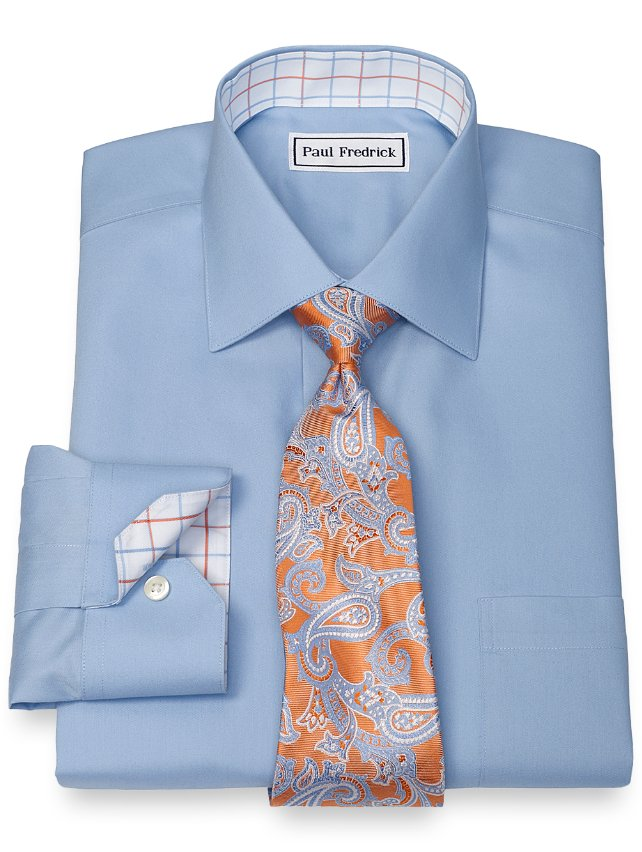Slim Fit Non-Iron Cotton Solid Pinpoint Dress Shirt