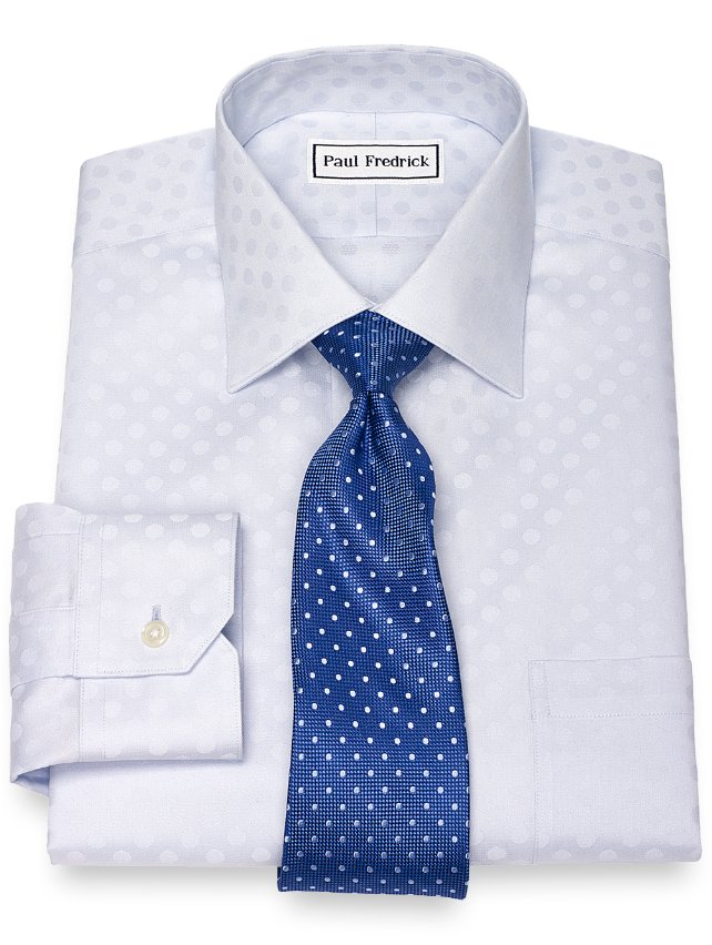 Slim Fit Non-Iron Cotton Dot Pattern Dress Shirt