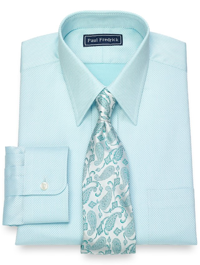 Slim Fit Cotton Diamond Pattern Dress Shirt