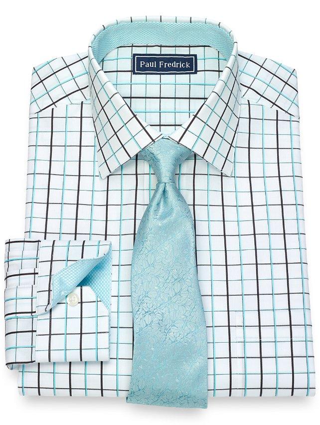 Slim Fit Cotton Satin Grid Dress Shirt